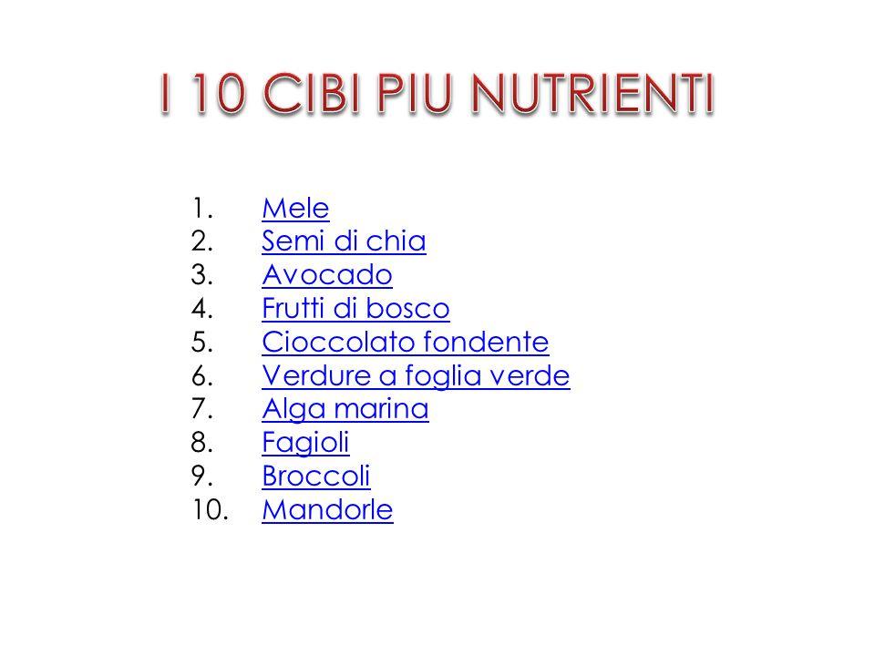 I 10 CIBI PIU NUTRIENTI Mele Semi di chia Avocado Frutti di bosco