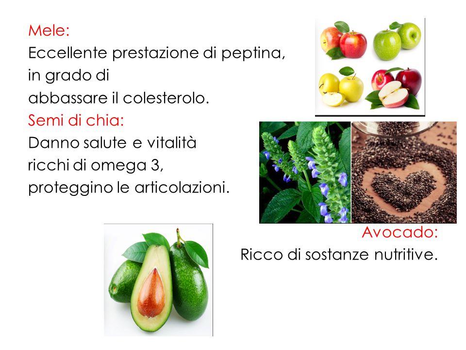 Mele: Eccellente prestazione di peptina, in grado di abbassare il colesterolo.