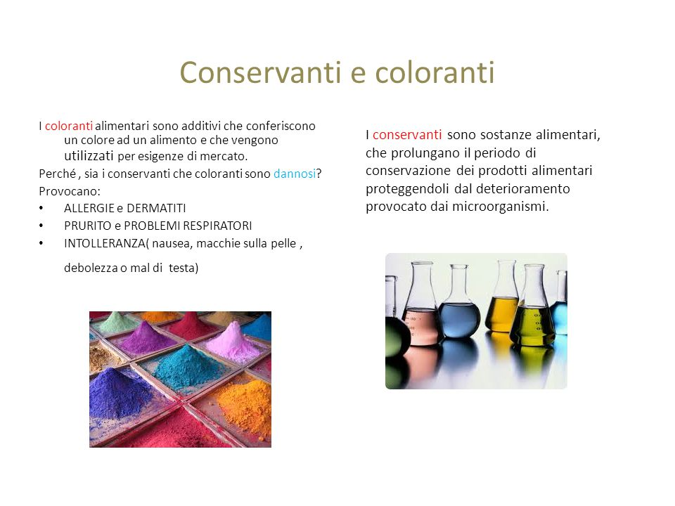 Conservanti e coloranti