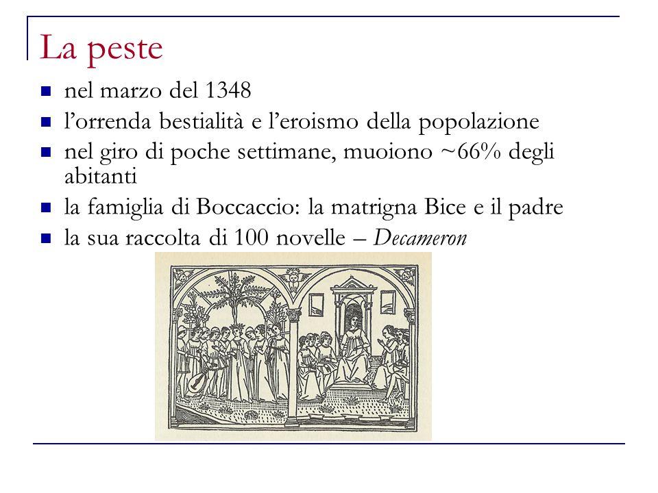 La peste nel marzo del 1348. l'orrenda bestialità e l'eroismo della popolazione. nel giro di poche settimane, muoiono ~66% degli abitanti.