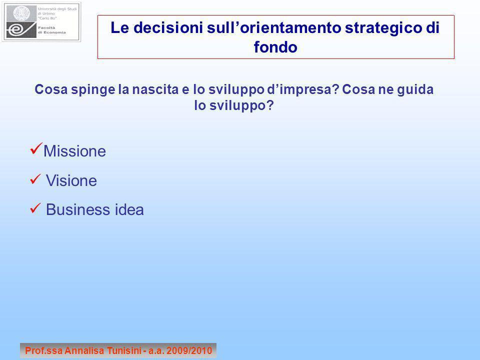 Missione Le decisioni sull'orientamento strategico di fondo Visione
