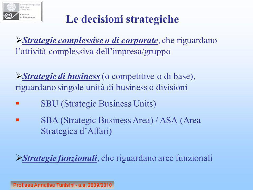 Le decisioni strategiche Prof.ssa Annalisa Tunisini - a.a. 2009/2010