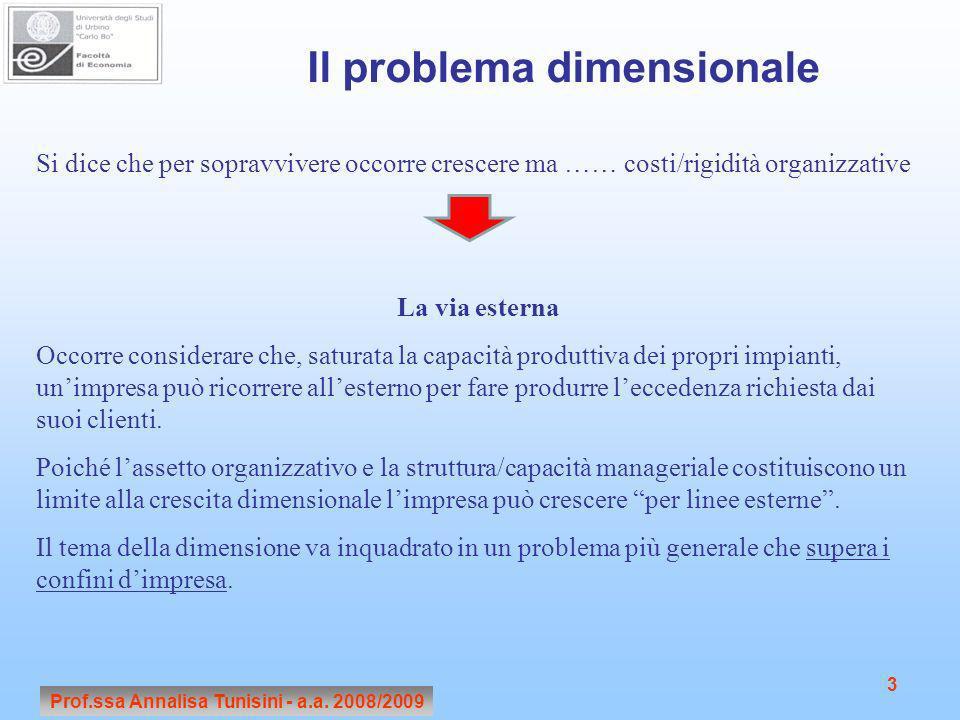 Il problema dimensionale