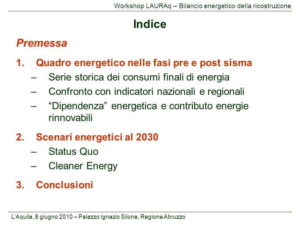 Indice Premessa Quadro energetico nelle fasi pre e post sisma