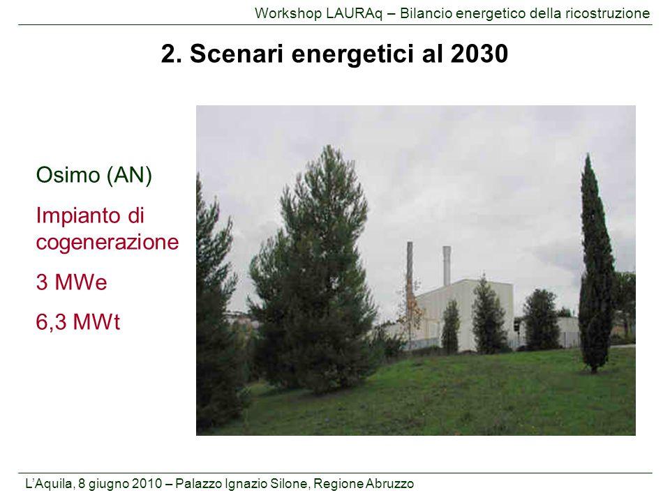 2. Scenari energetici al 2030 Osimo (AN) Impianto di cogenerazione