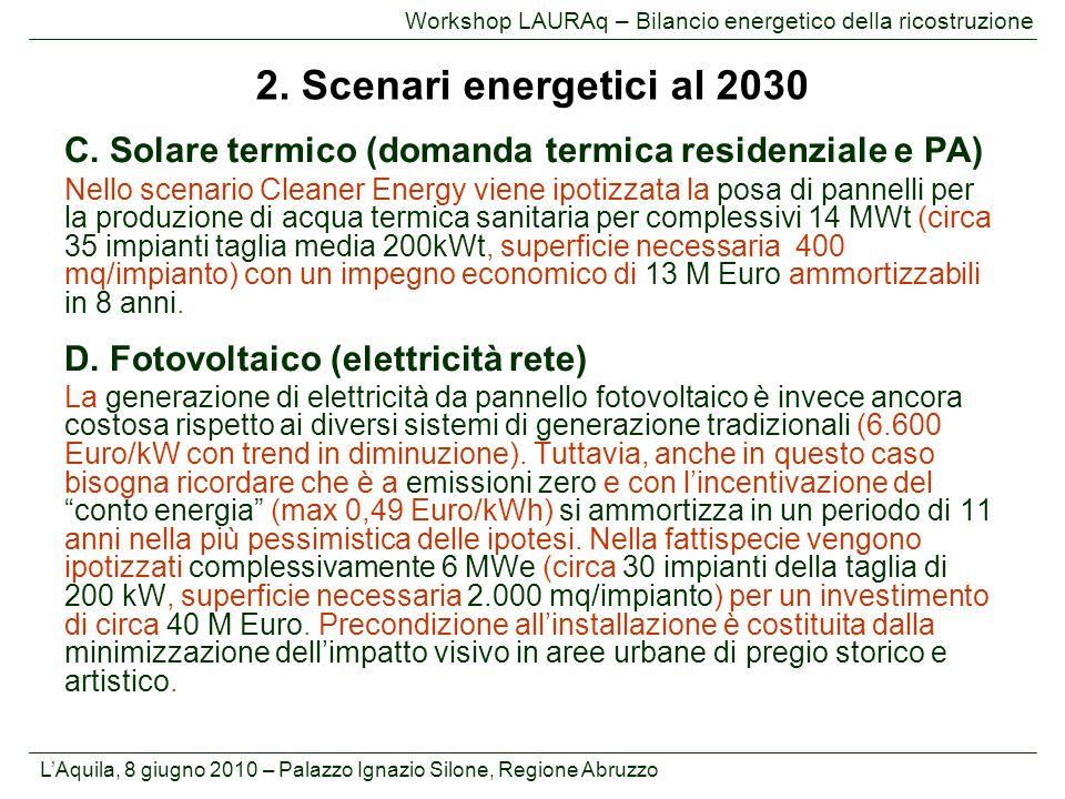 Workshop LAURAq – Bilancio energetico della ricostruzione