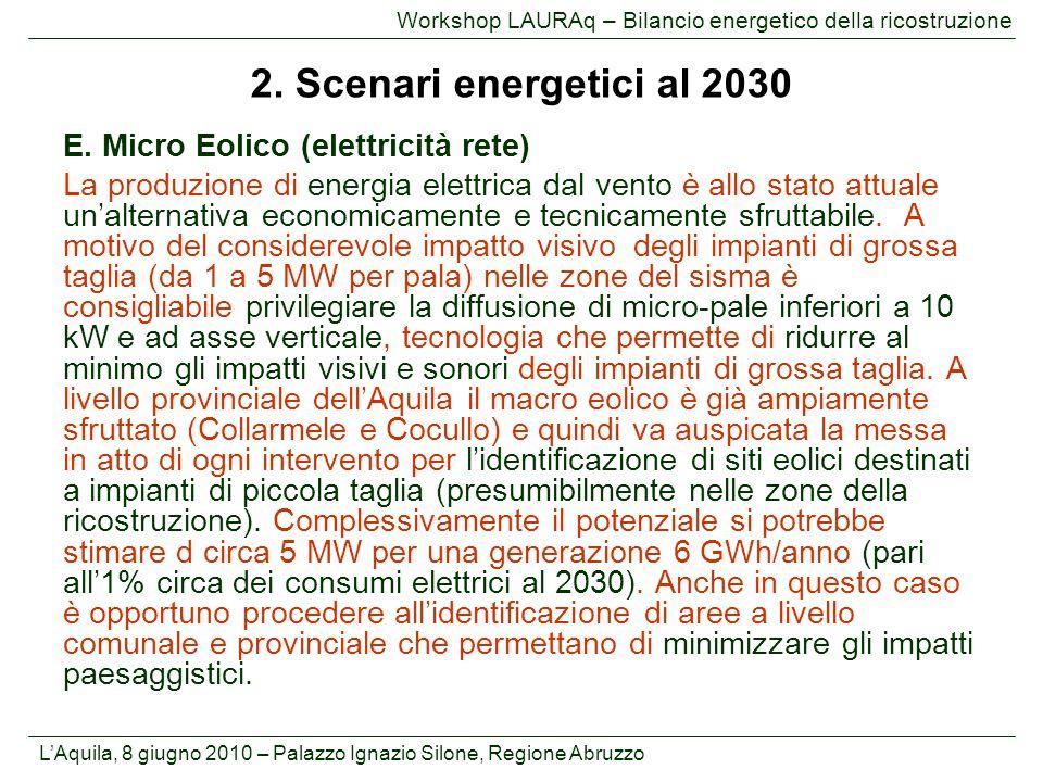 2. Scenari energetici al 2030 E. Micro Eolico (elettricità rete)