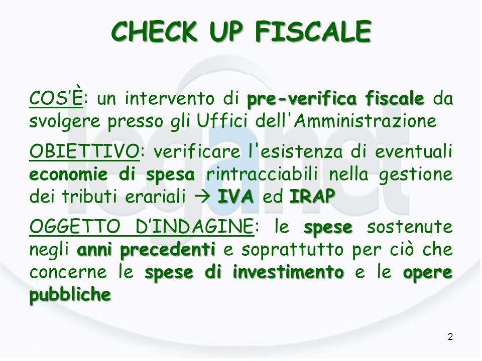 CHECK UP FISCALE
