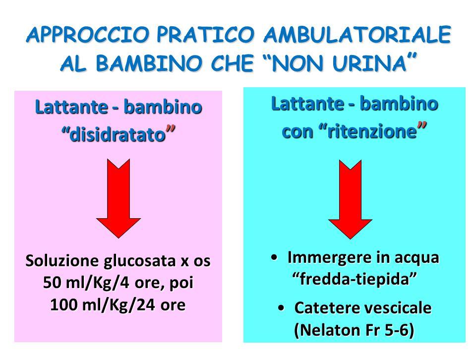 APPROCCIO PRATICO AMBULATORIALE AL BAMBINO CHE NON URINA