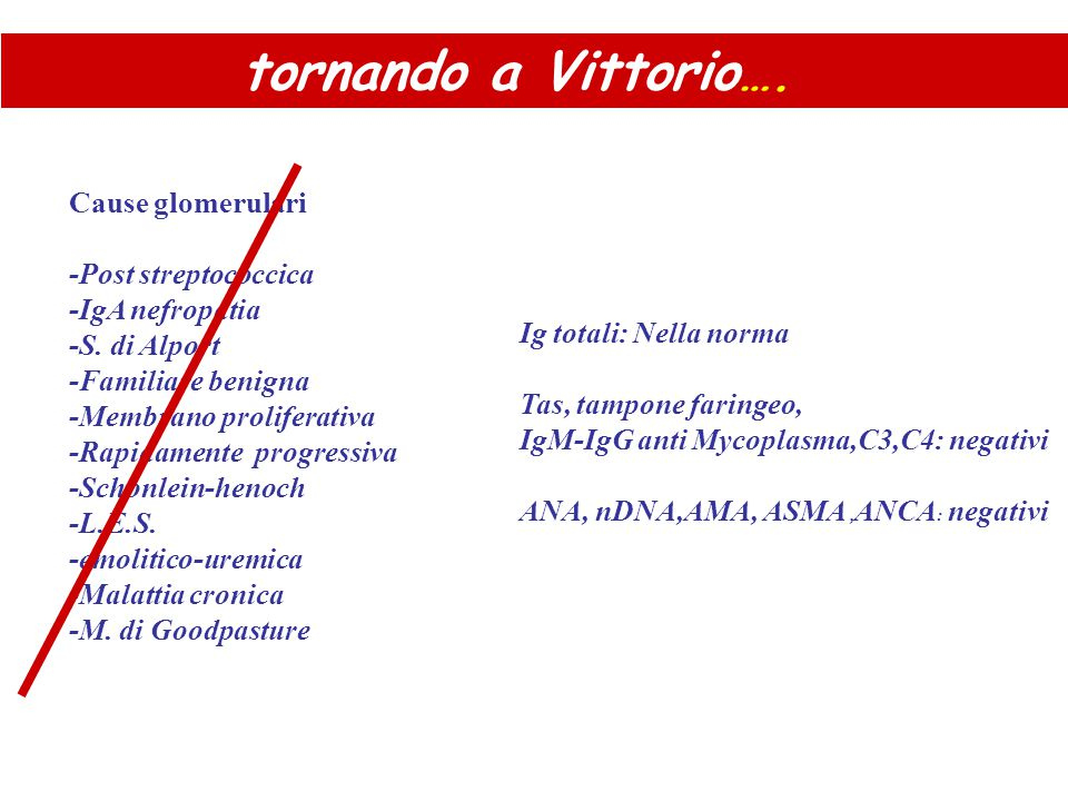 tornando a Vittorio…. Cause glomerulari -Post streptococcica
