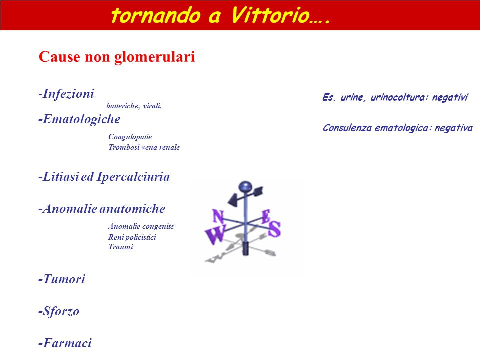 tornando a Vittorio…. Cause non glomerulari Infezioni -Ematologiche