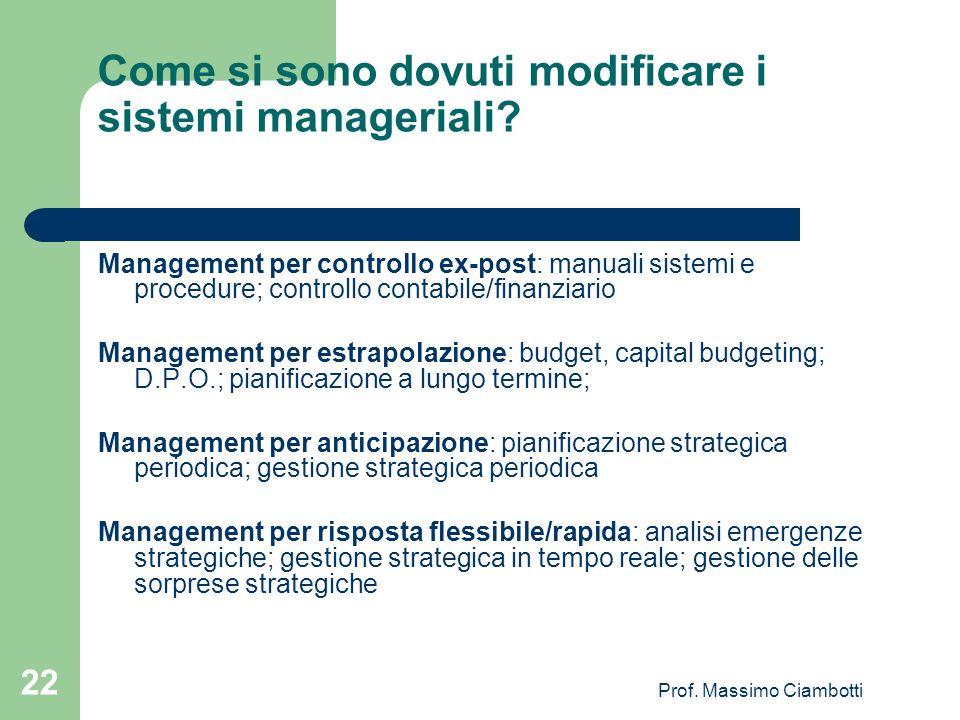 Come si sono dovuti modificare i sistemi manageriali