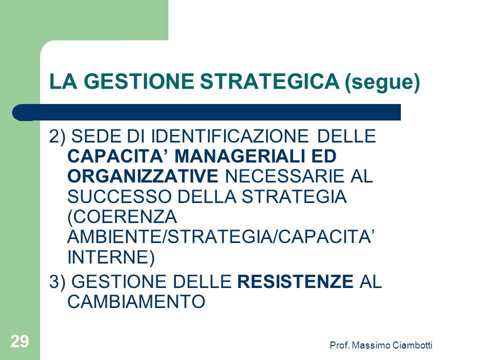 LA GESTIONE STRATEGICA (segue)