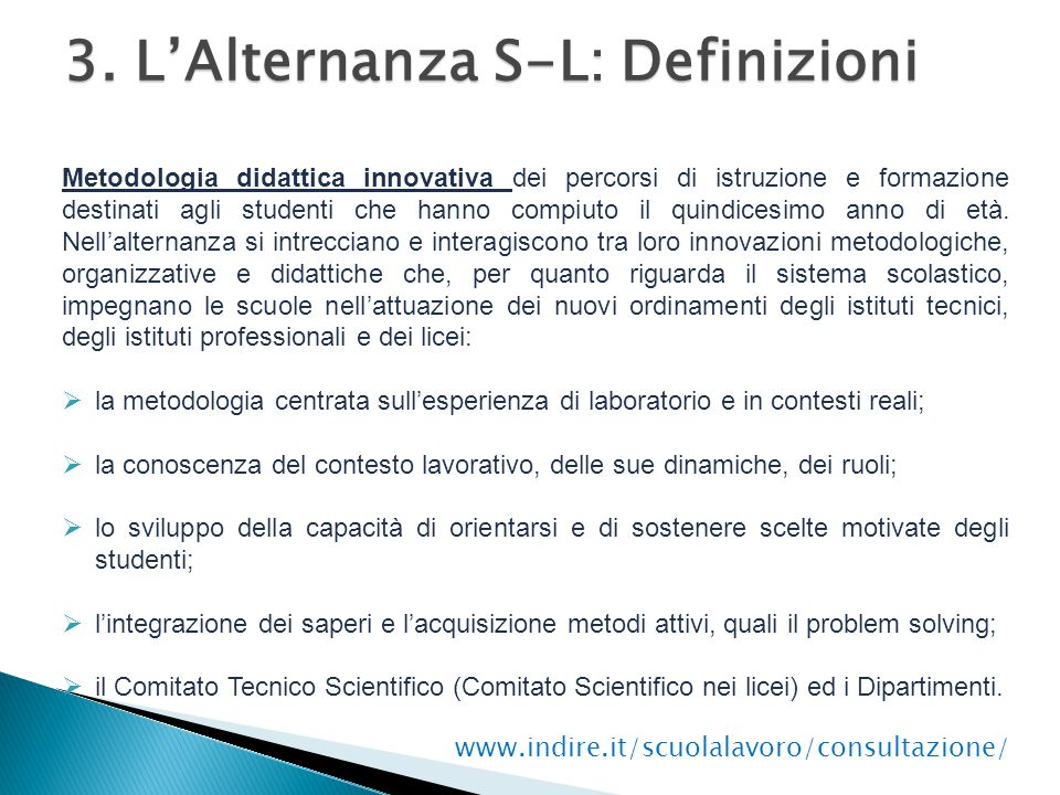 3. L'Alternanza S-L: Definizioni