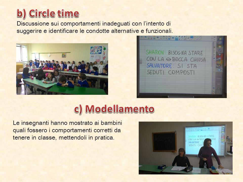 b) Circle time c) Modellamento