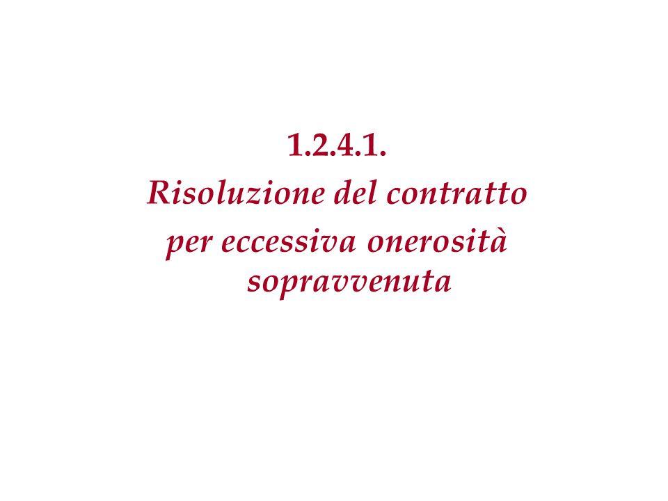 Risoluzione del contratto per eccessiva onerosità sopravvenuta