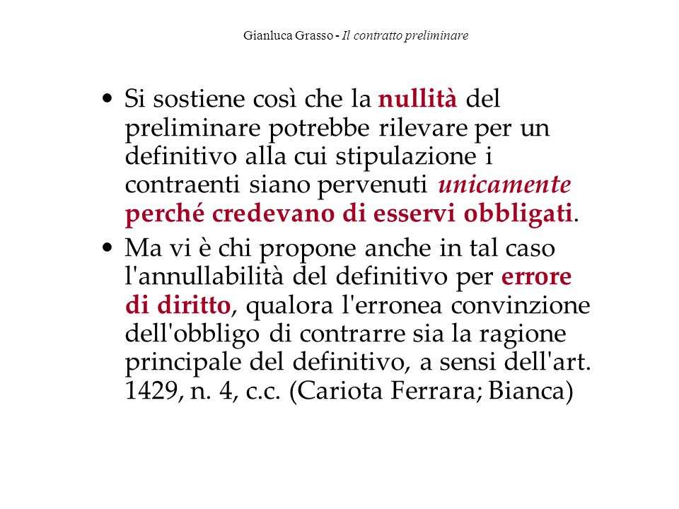 Gianluca Grasso - Il contratto preliminare