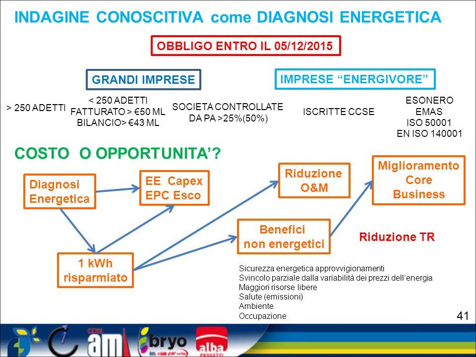 INDAGINE CONOSCITIVA come DIAGNOSI ENERGETICA