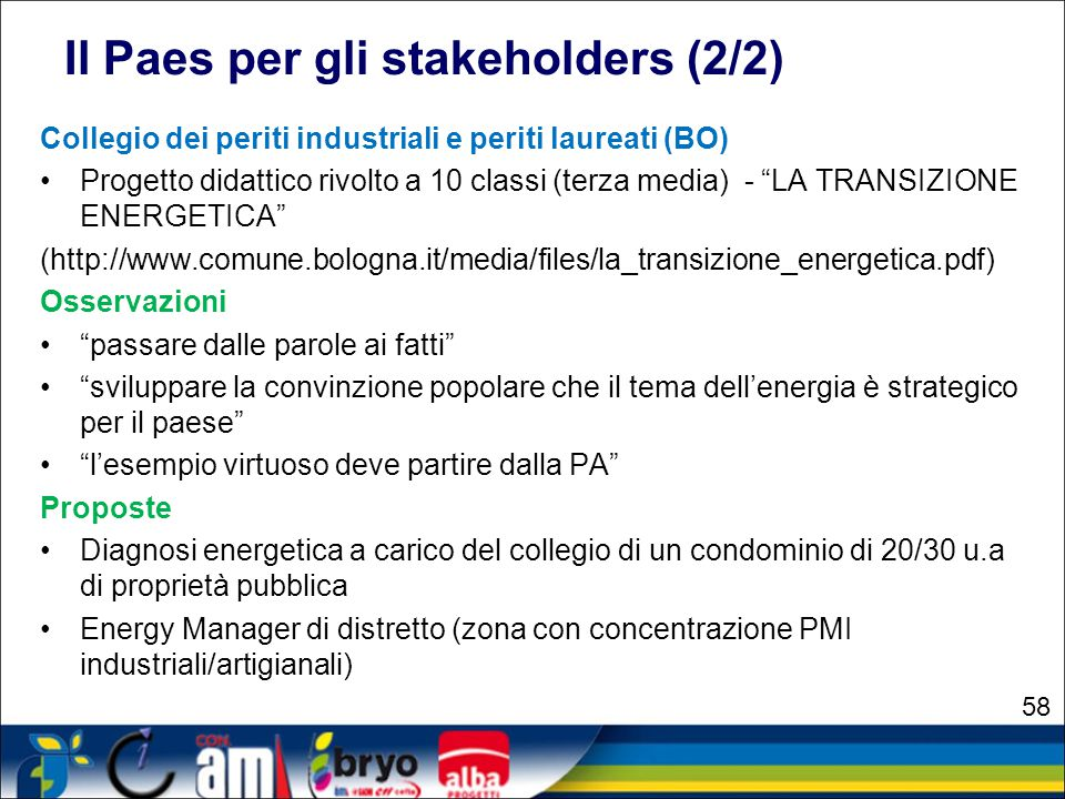 Il Paes per gli stakeholders (2/2)