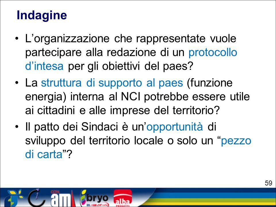 Indagine L'organizzazione che rappresentate vuole partecipare alla redazione di un protocollo d'intesa per gli obiettivi del paes