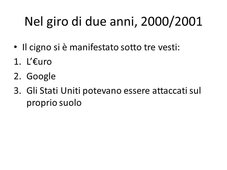 Nel giro di due anni, 2000/2001 Il cigno si è manifestato sotto tre vesti: L'€uro. Google.