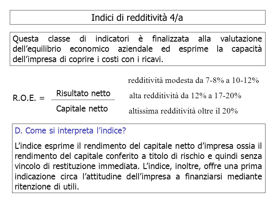 Indici di redditività 4/a