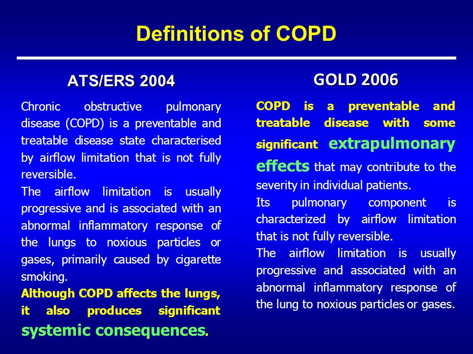 Definitions of COPD GOLD 2006 ATS/ERS 2004