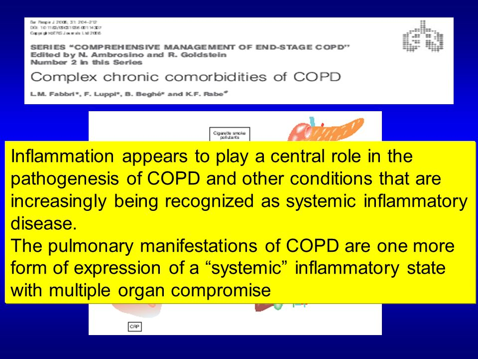 Inflammation appears to play a central role in the pathogenesis of COPD and other conditions that are increasingly being recognized as systemic inflammatory disease.