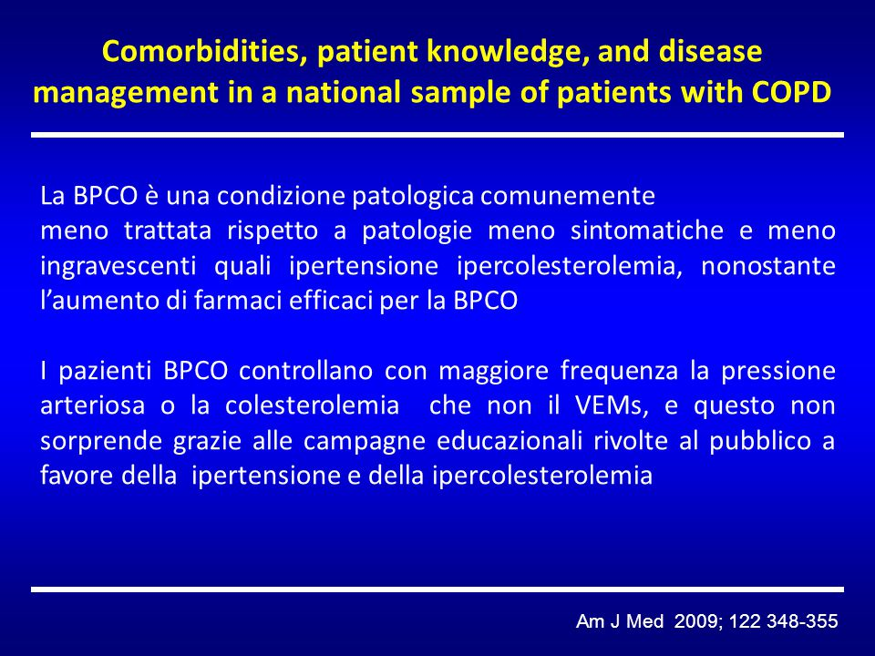 Comorbidities, patient knowledge, and disease management in a national sample of patients with COPD