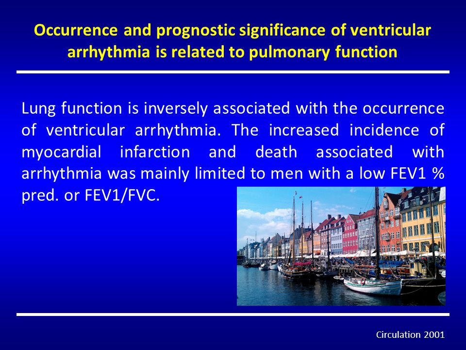 Occurrence and prognostic significance of ventricular arrhythmia is related to pulmonary function