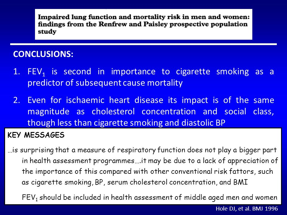 CONCLUSIONS: FEV1 is second in importance to cigarette smoking as a predictor of subsequent cause mortality.