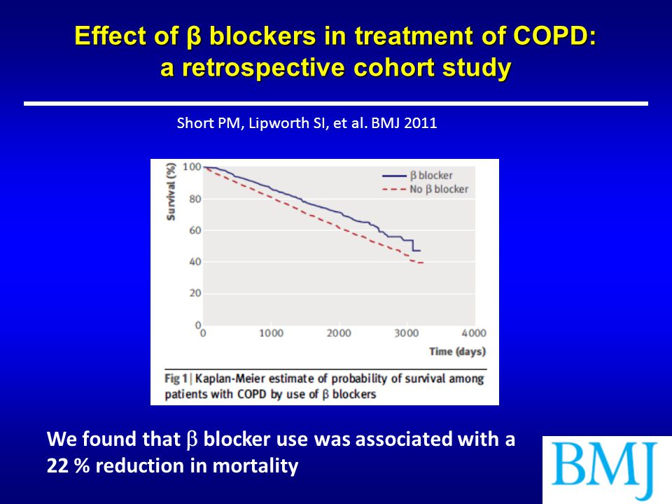 Effect of β blockers in treatment of COPD: a retrospective cohort study