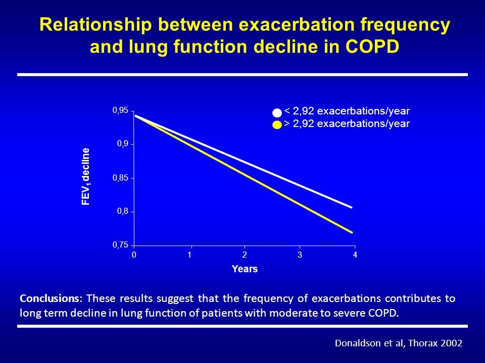 Relationship between exacerbation frequency and lung function decline in COPD