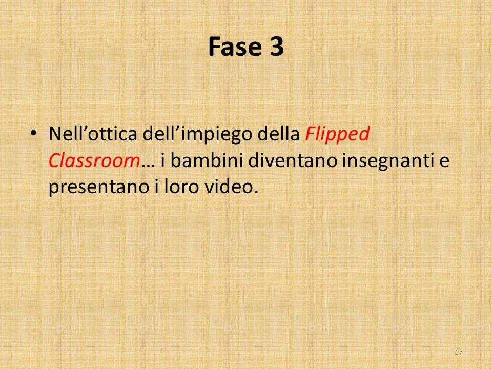 Fase 3 Nell'ottica dell'impiego della Flipped Classroom… i bambini diventano insegnanti e presentano i loro video.