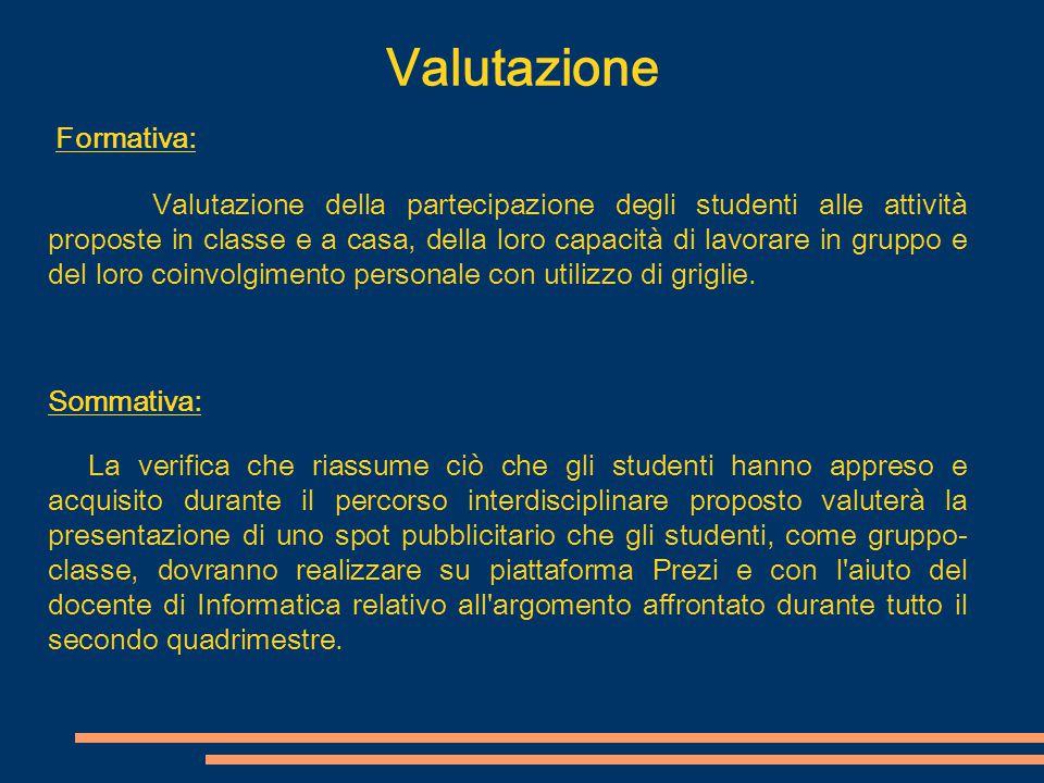 Valutazione Formativa: Sommativa: