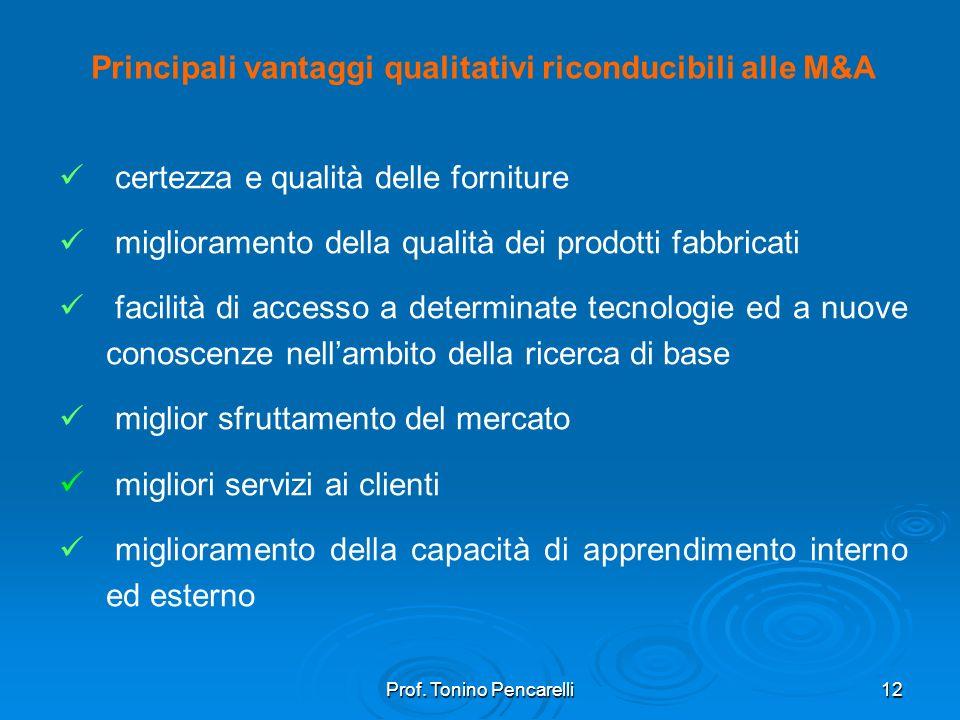 Principali vantaggi qualitativi riconducibili alle M&A