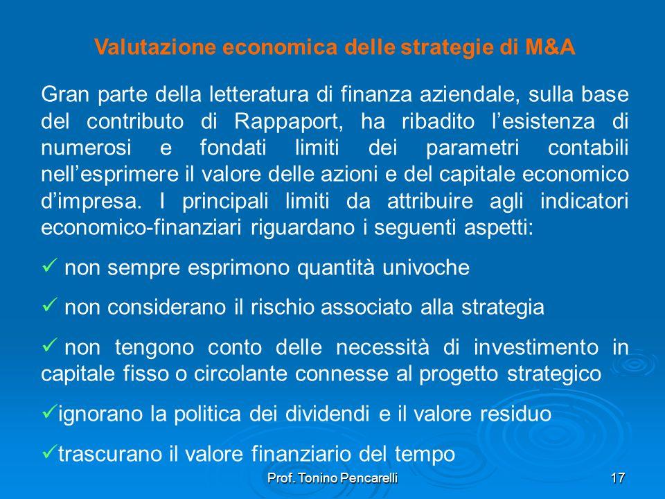 Valutazione economica delle strategie di M&A