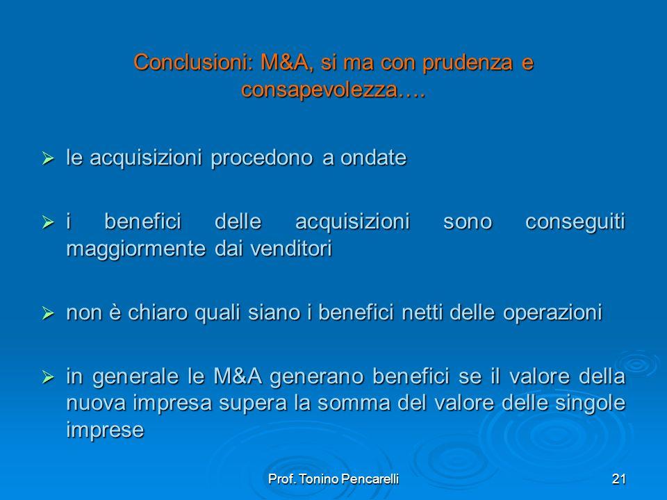 Conclusioni: M&A, si ma con prudenza e consapevolezza….