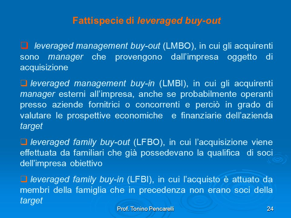 Fattispecie di leveraged buy-out