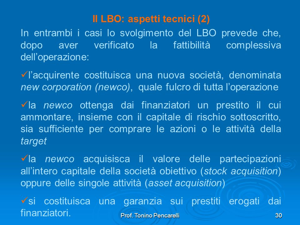Il LBO: aspetti tecnici (2)