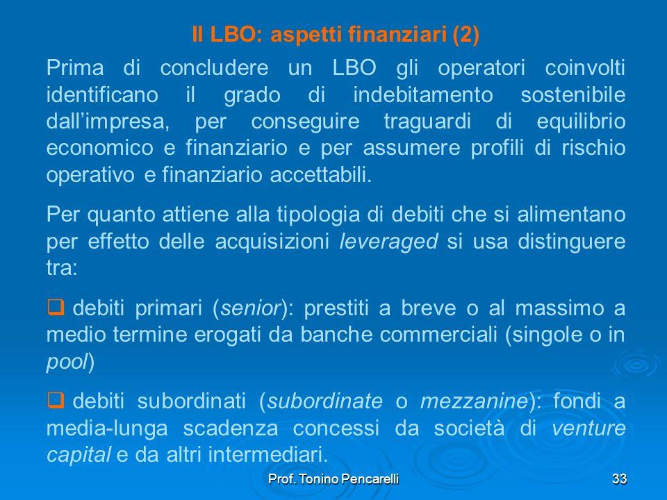 Il LBO: aspetti finanziari (2)