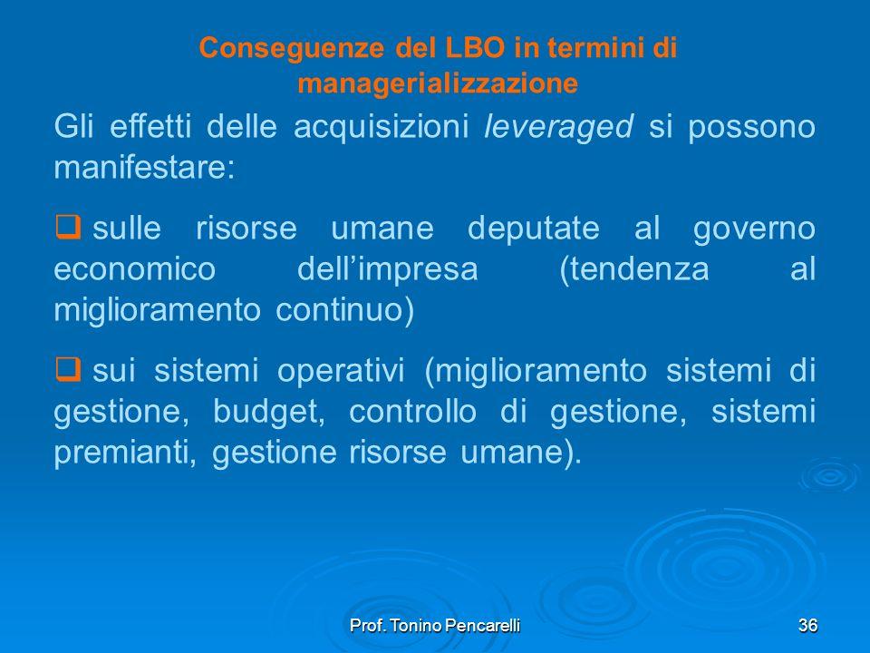 Conseguenze del LBO in termini di managerializzazione