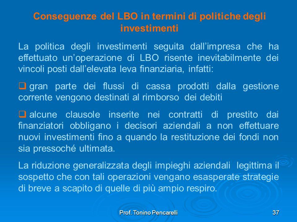 Conseguenze del LBO in termini di politiche degli investimenti