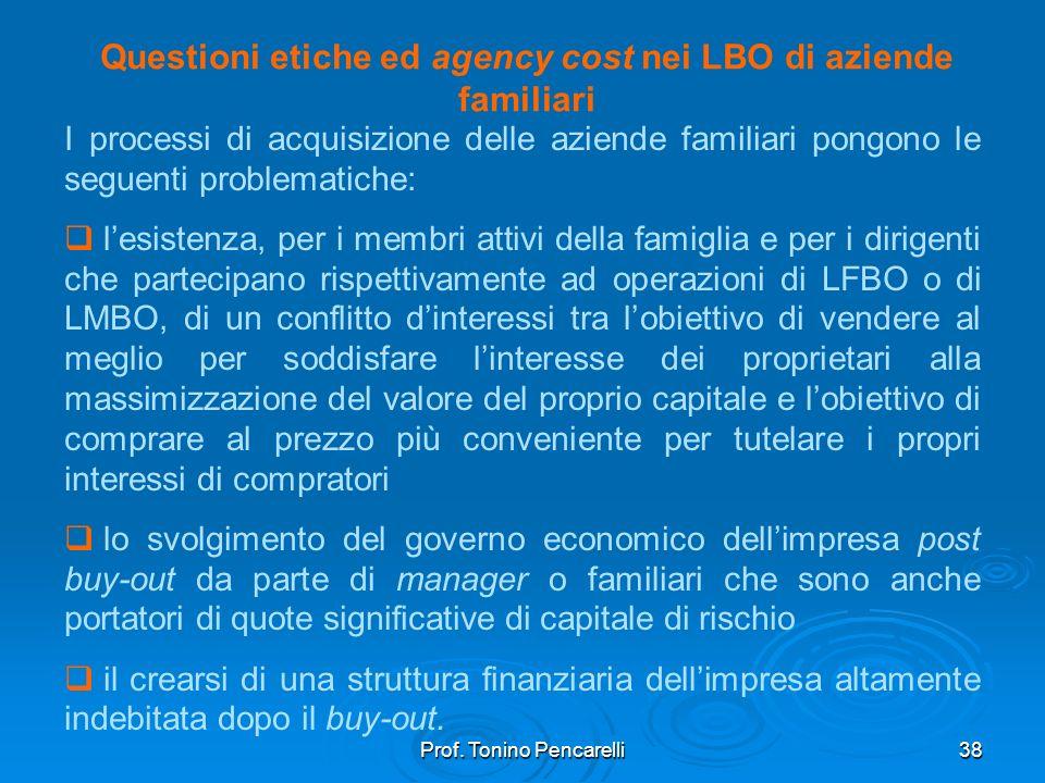 Questioni etiche ed agency cost nei LBO di aziende familiari