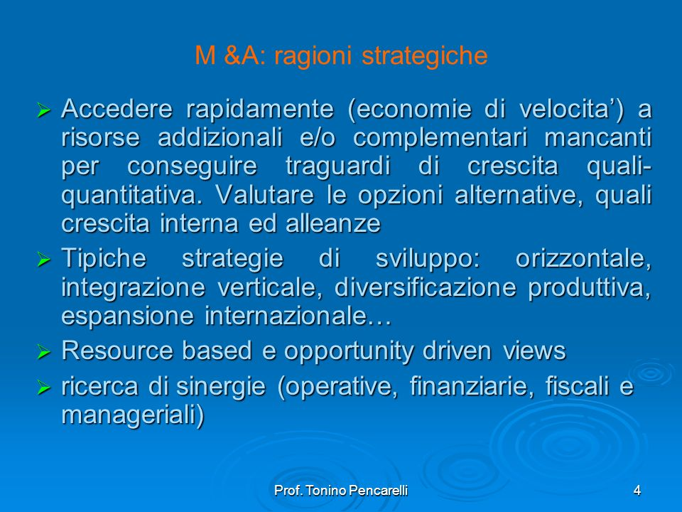M &A: ragioni strategiche