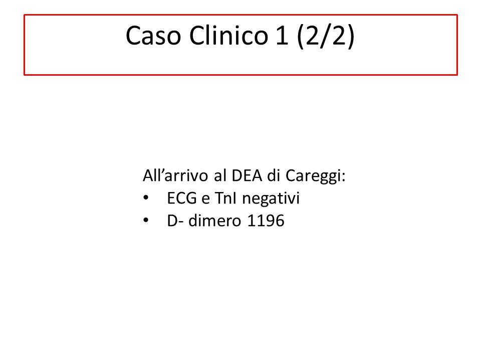Caso Clinico 1 (2/2) All'arrivo al DEA di Careggi: ECG e TnI negativi