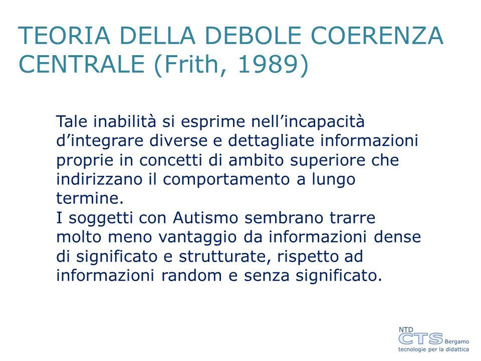 TEORIA DELLA DEBOLE COERENZA CENTRALE (Frith, 1989)
