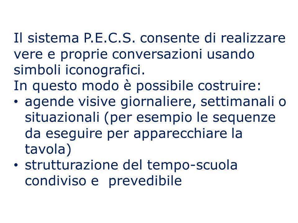 Il sistema P.E.C.S. consente di realizzare vere e proprie conversazioni usando simboli iconografici.