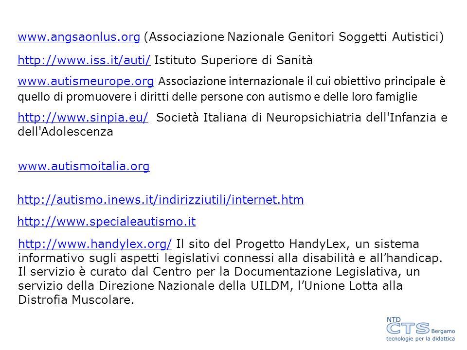 www.angsaonlus.org (Associazione Nazionale Genitori Soggetti Autistici)