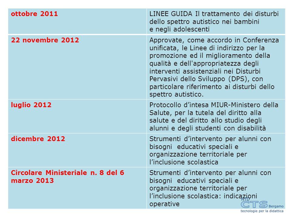 ottobre 2011 LINEE GUIDA Il trattamento dei disturbi. dello spettro autistico nei bambini. e negli adolescenti.